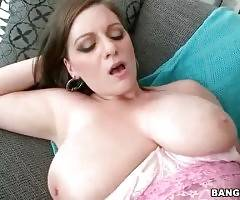 Cute Jessica Roberts gets her massive natural tits drilled.