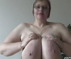 Watch BBW Gertruda, as she bangs deep into her fat twat with her dildo!