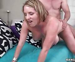 Muscled stud thoroughly fucks breasted Maggie Green.