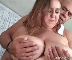 Sweet BBW starts doing the exercises under the control of fitness instructor.