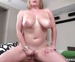 Slutty breasted Maggie Green is jumping on partner`s cock.